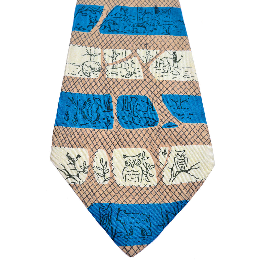 Cross hatch and drawn animals striped Tina Leser vintage silk men's tie