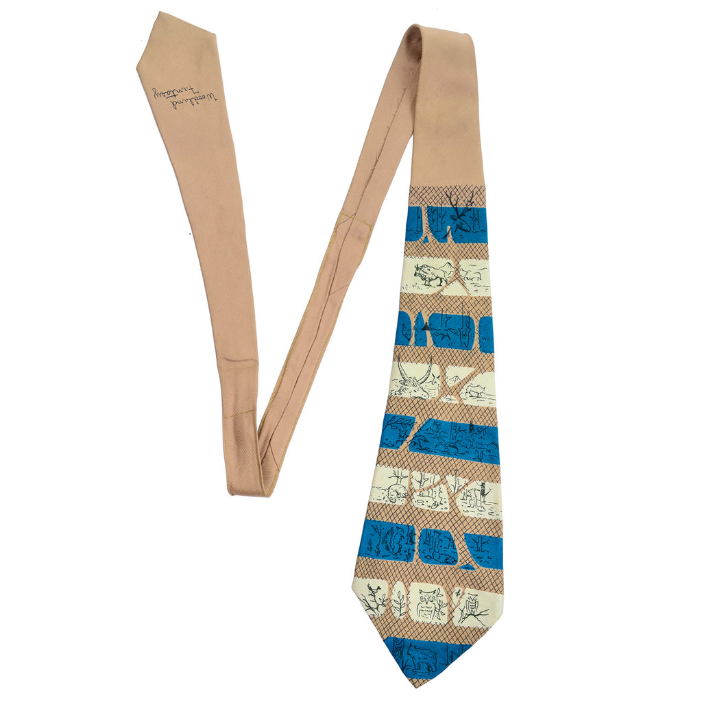 "1950's Tina Leser Striped Vintage Tie with drawn animals ""woodland fantasy"""