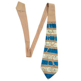 1950's Tina Leser Striped Vintage Tie with drawn animals