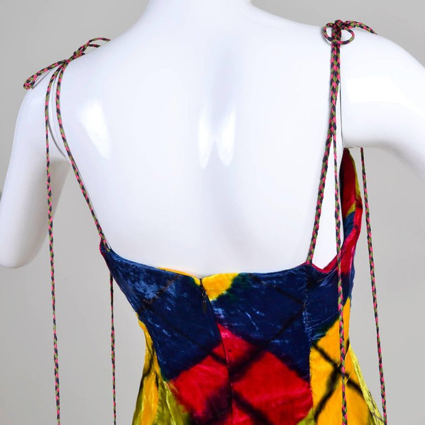 Tie strap argyle vintage Todd Oldham 1990's mini dress