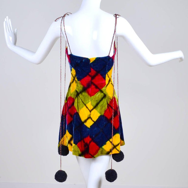 1990's argyle Todd Oldham velvet mini dress