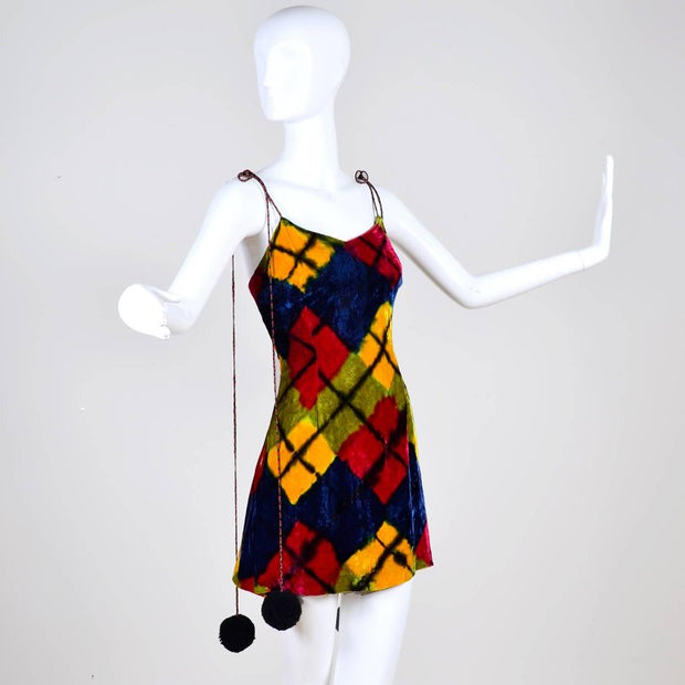 1990's Todd Oldham important vintage mini dress in velvet argyle