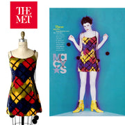 Todd Oldham Fall/Winter 1994/1995 Velvet Argyle Mini Dress featured in the MET and magazine