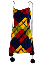 Todd Oldham Fall/Winter 1994/1995 Velvet Argyle Mini Dress