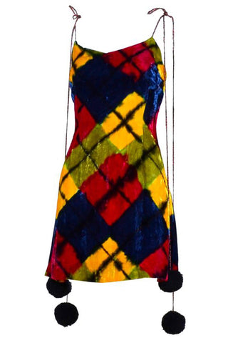 1982 Vintage Yves Saint Laurent YSL Dress in Multi Colored Striped Silk Documented