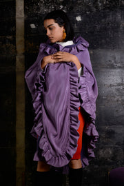1970's Bill Travilla Purple Ruffle Cape