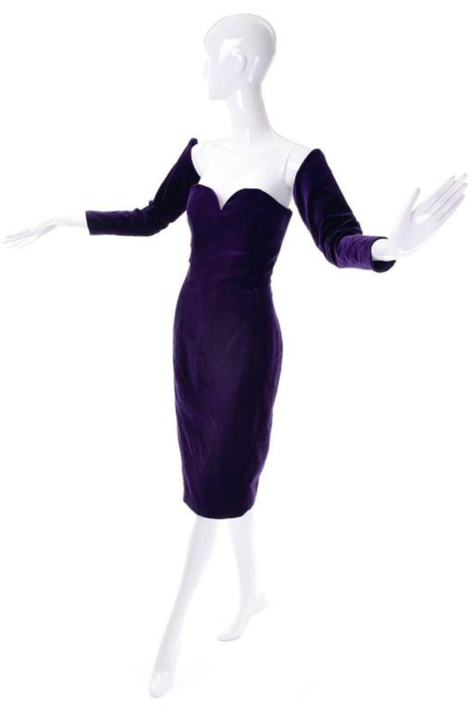 1980s purple velvet Travilla vintage strapless dress with detached sleeves