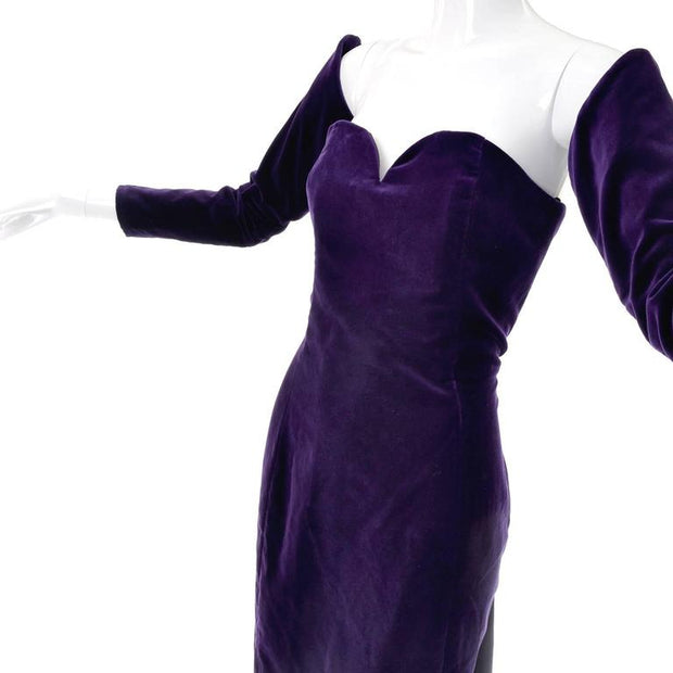 1980s Travilla Purple Velvet Strapless Dress w/ Detached Sleeves