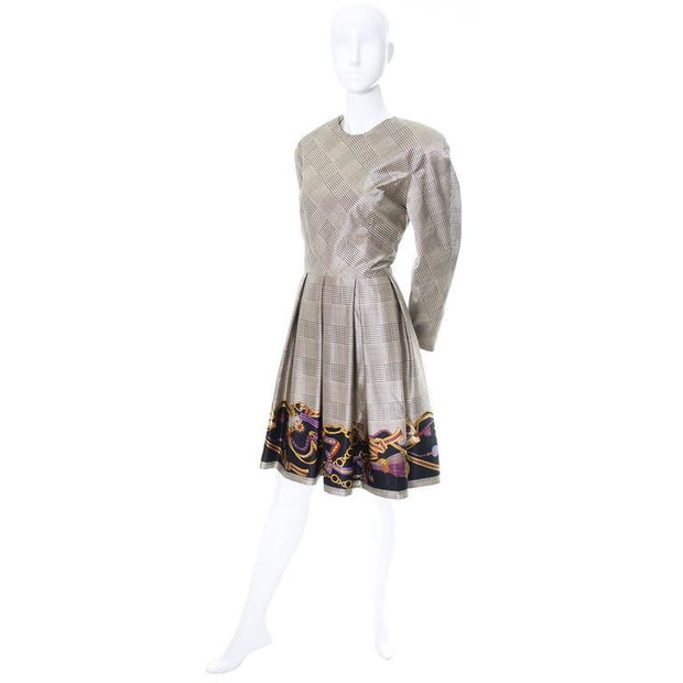1970's Travilla silk dress with scroll, chain and tassel design