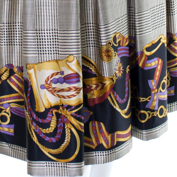Scroll design on 1970's Travilla dress