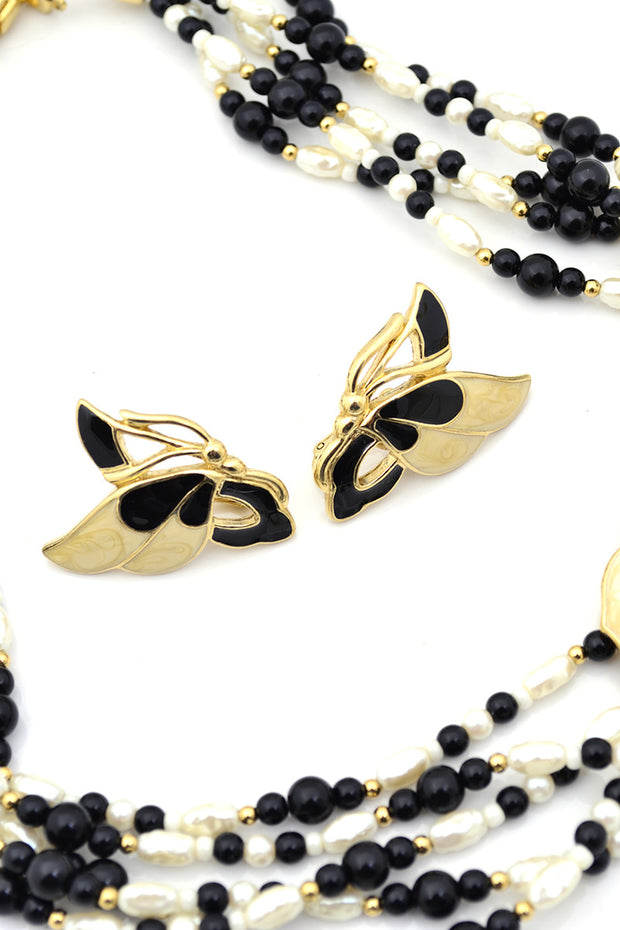Demi Parure Trifari Pearl Enamel Vintage Necklace Earrings