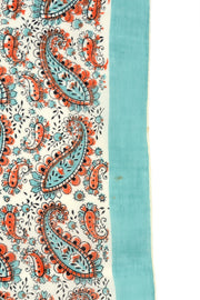 1970s Teal & Orange Paisley Cotton Scarf or Bandana