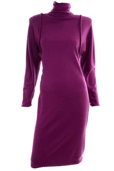 Vintage Emanuel Ungaro Parallele Purple Knit Dress New With Original Tags