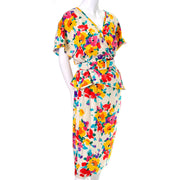 Emanuel Ungaro Parallele Vintage Dress in Multi Colored Floral Silk Print