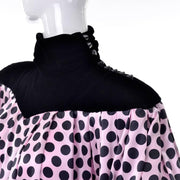 Emanuel Ungaro pink silk dress with black velvet turtleneck and polkadots