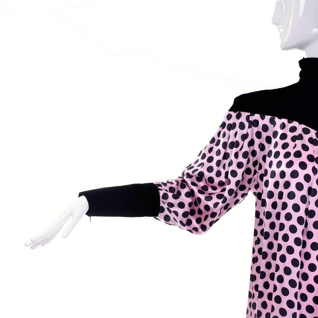 Pink silk polka dot dress with velvet turtleneck