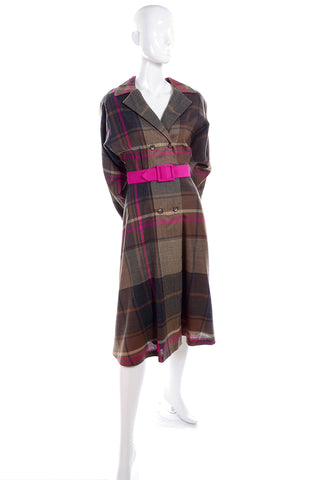Utah Tailoring Mills 1980's vintage brown & pink plaid wool dress