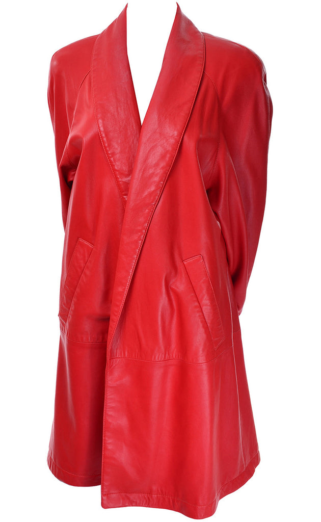 1980s Vakko Red Orange Leather Coat Medium