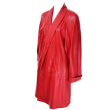 Vintage 1980s Vakko Red Orange Leather Coat Jacket
