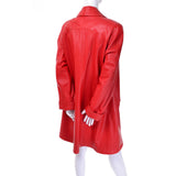 80s 1980s Vakko Red Orange Leather Coat Medium