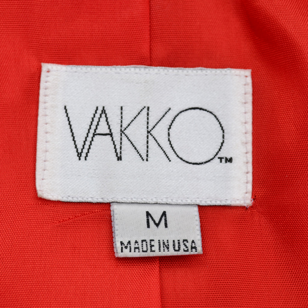 Luxurious 1980s Vakko Red Orange Leather Coat M