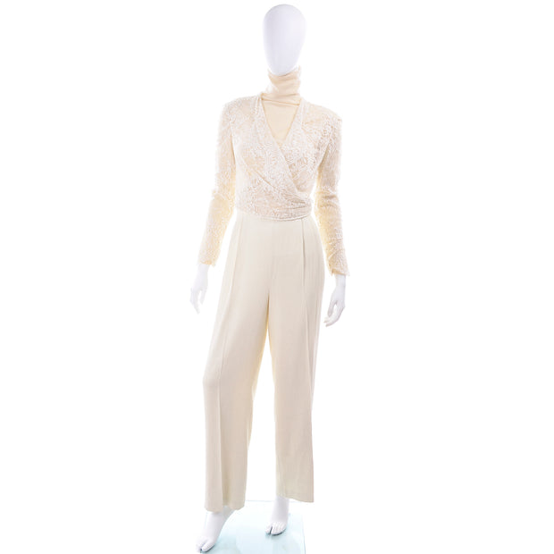 Vintage Valentino cream turtleneck and pants