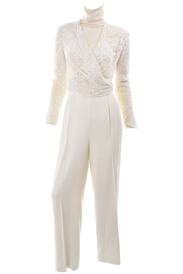 Valentino vintage pantsuit with cream lace top
