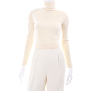 Valentino Ensemble w/ Cream Turtleneck, Lace Wrap Top & High Waist Pants