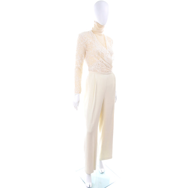 Valentino Size 8 Cream Pant Ensemble