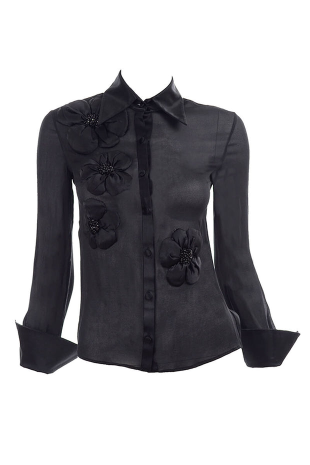Valentino Sheer Silk Chiffon Black Blouse