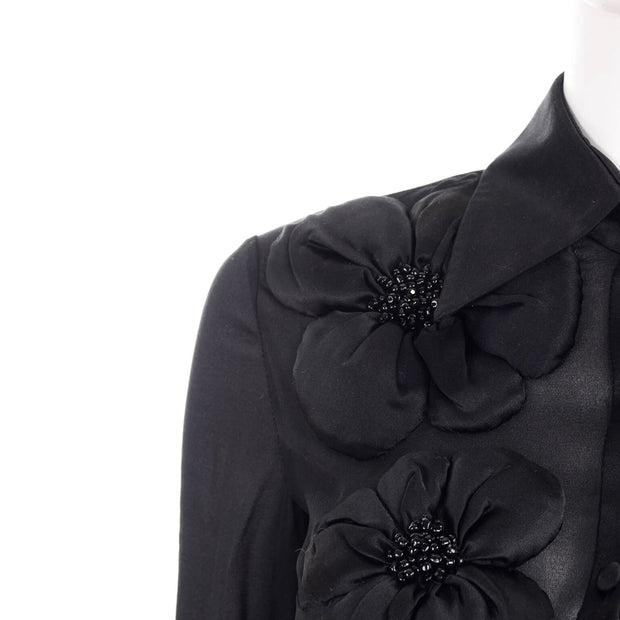 Valentino Sheer Black Chiffon Blouse w/ Beaded Floral Silk Appliques XS
