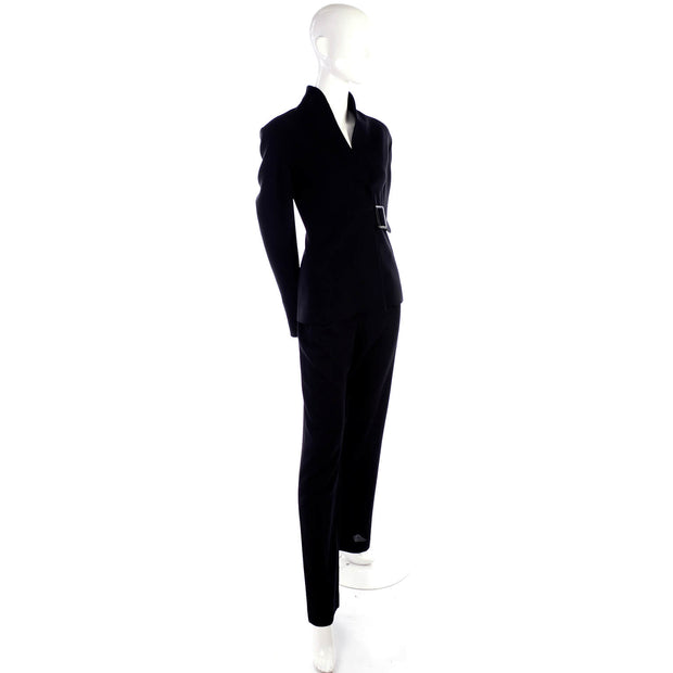 Valentino Black Crepe Trouser Pantsuit w/ Belted Jacket Size 8