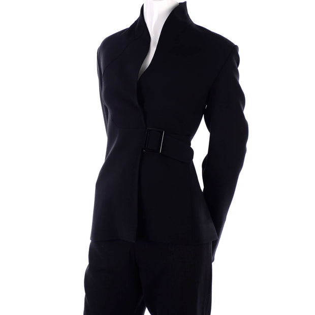 Swan necked vintage Valentino black crepe jacket with buckle