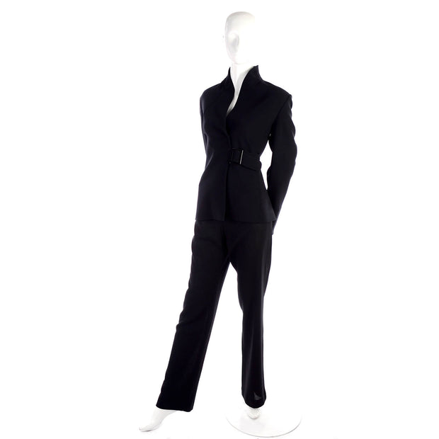 High collar black pantsuit by Valentino