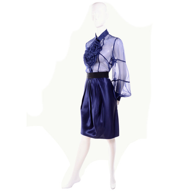 F/W 2008 Valentino deep blue silk sheer blouse and skirt