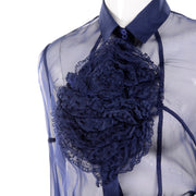 F/W 2008 Valentino deep blue silk ruffle front blouse and skirt