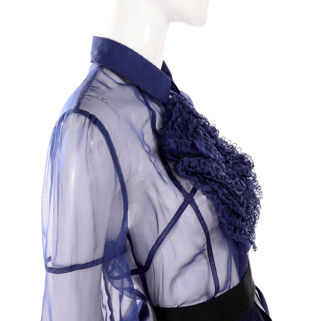 F/W 2008 Valentino deep blue silk blouse circle ruffle pannel and skirt