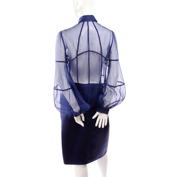 F/W 2008 Valentino deep blue sheer silk panel blouse and skirt