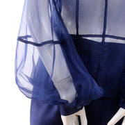 F/W 2008 Valentino deep blue silk blouse bishop sleeves