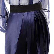 F/W 2008 Valentino deep blue silk blouse and skirt with pleated front