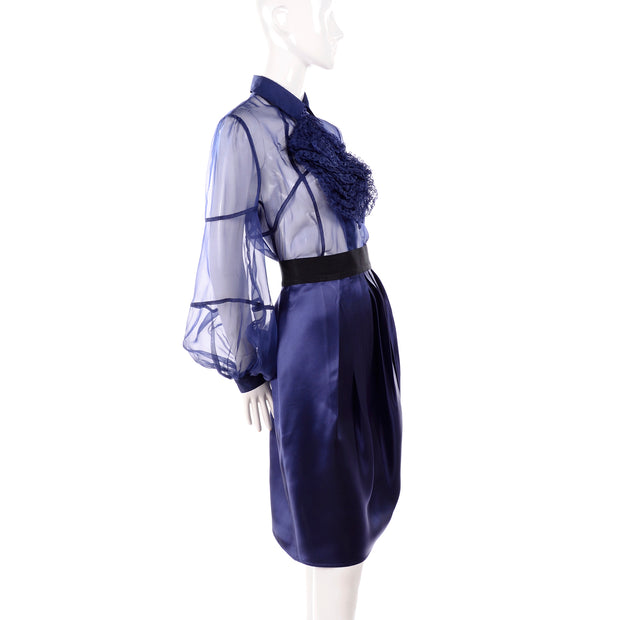 F/W 2008 Valentino deep blue silk blouse and skirt dress