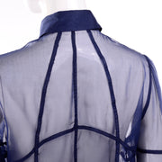 F/W 2008 Valentino deep blue silk sheer blouse seams