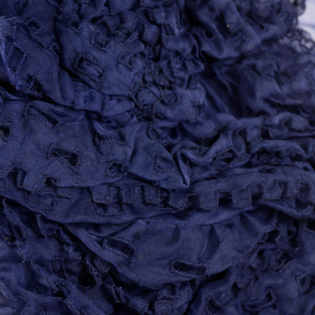 Fall 2008 Valentino deep blue silk blouse with ruffles