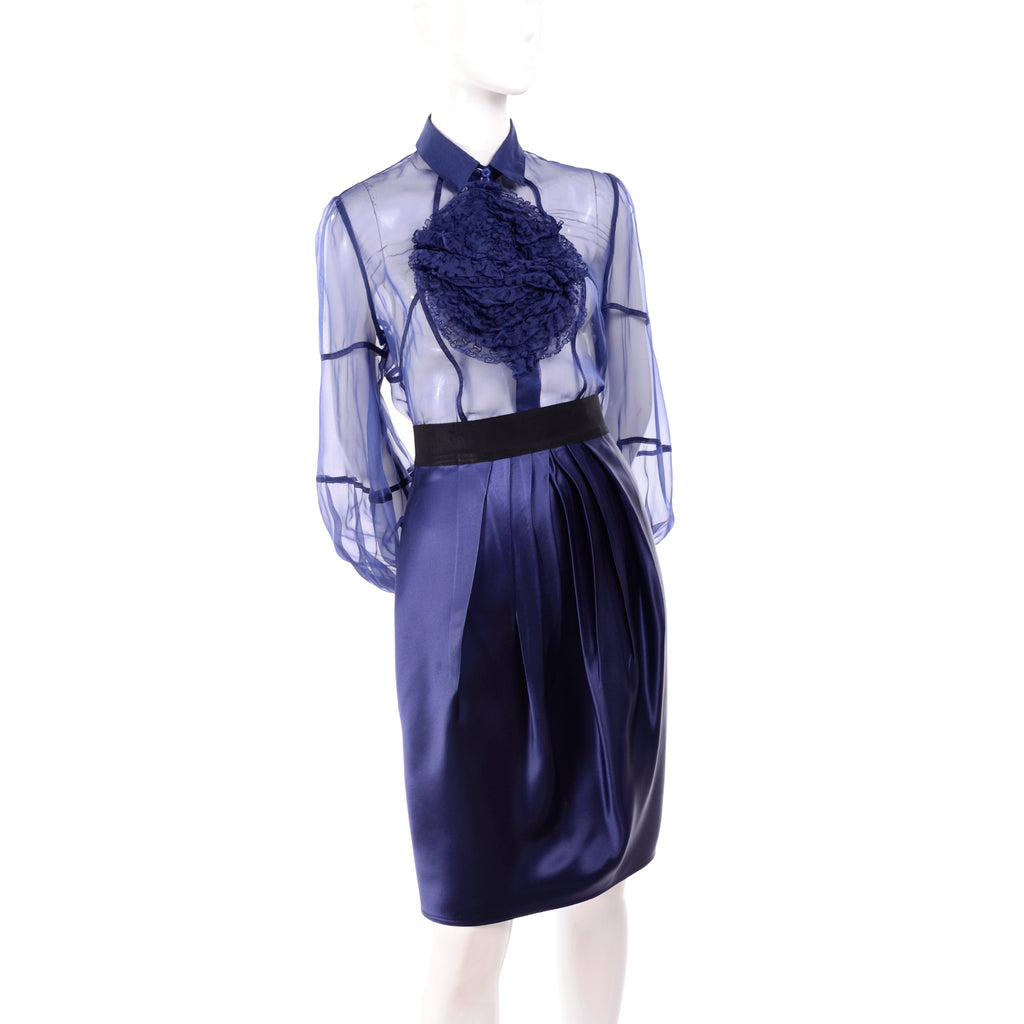 F/W 2008 Valentino deep blue sheer blouse and pleated skirt