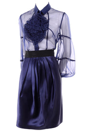F/W 2008 Valentino deep blue silk blouse and skirt
