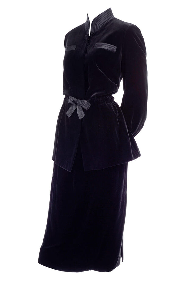 Vintage Valentino Boutique black velvet skirt suit