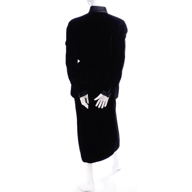 Valentino Boutique Vintage Black Velvet Skirt Suit w/ Satin Trim Size 6