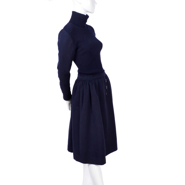 1970s Valentino Vintage Navy Blue Wool Dress Suit With Dress & Jacket