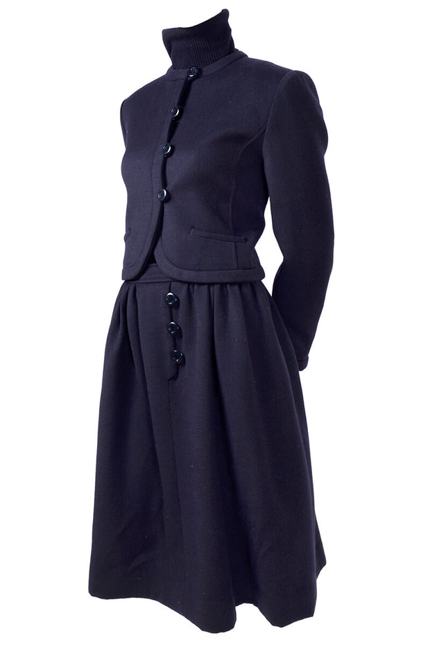 Valentino Navy Blue Wool Day Dress and Jacket