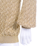 Vintage Valentino Gold Sparkle Cardigan Sweater Cable Knit